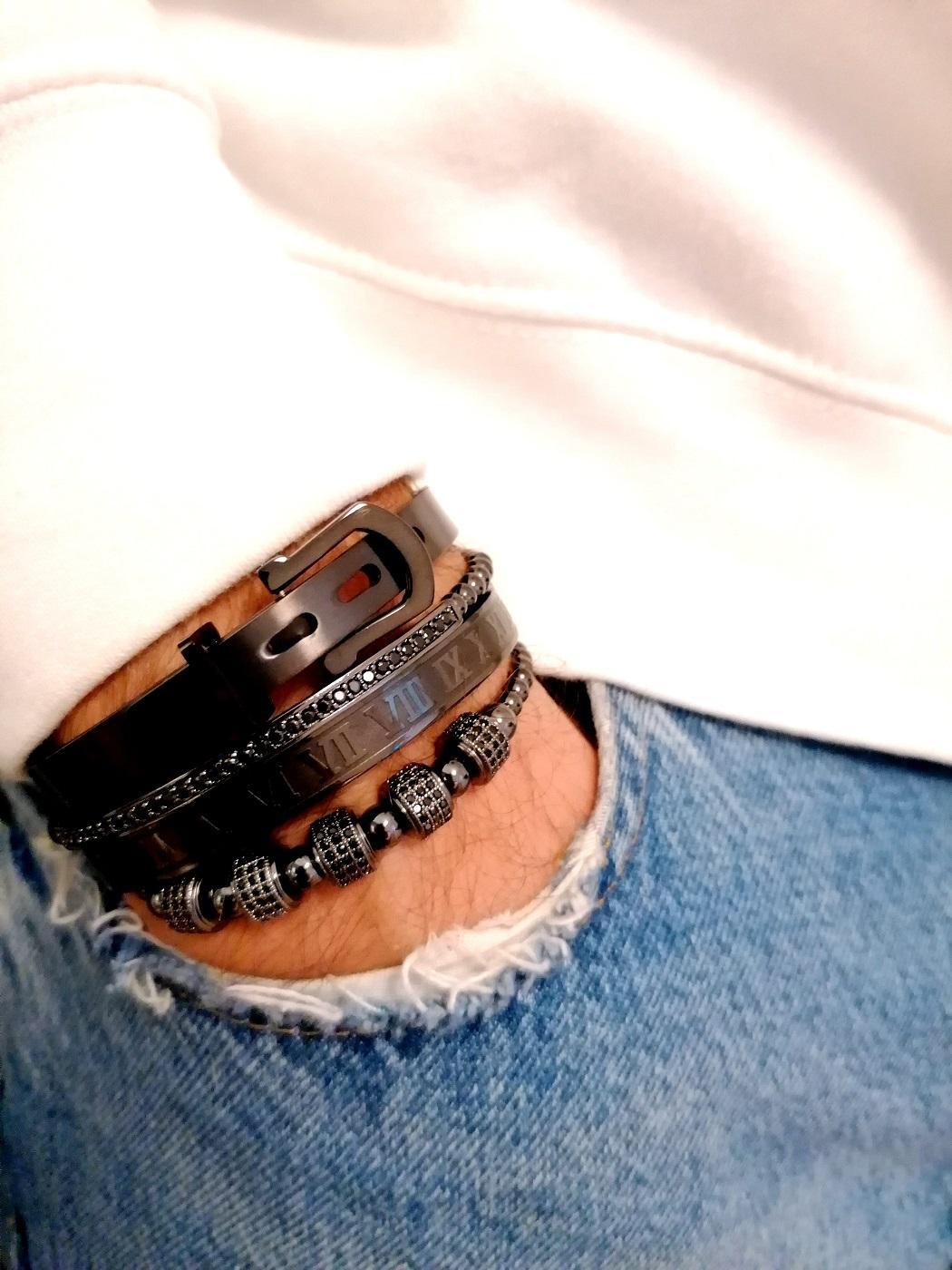 Black And Gold Bracelet Mens, Black Diamond Bracelet Womens, Mens Black Metal Bracelet, Mens Black Stainless Steel Bracelet, Mens Bracelets Silver And Black, Metal Charm Bracelets New York