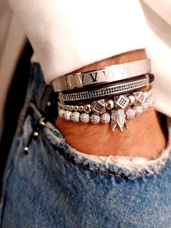 Mens Diamond Bangle Bracelet, Rope Bracelets For Guys, Bead Bracelet For Guys, Male Bangle, Tennis Bracelet Real Diamonds, Luxury Beaded Bracelets, Guy Charm Bracelets, Tennis Bracelet Set, Ladies Tennis Bracelet, Silver Bangle Bracelets For Women