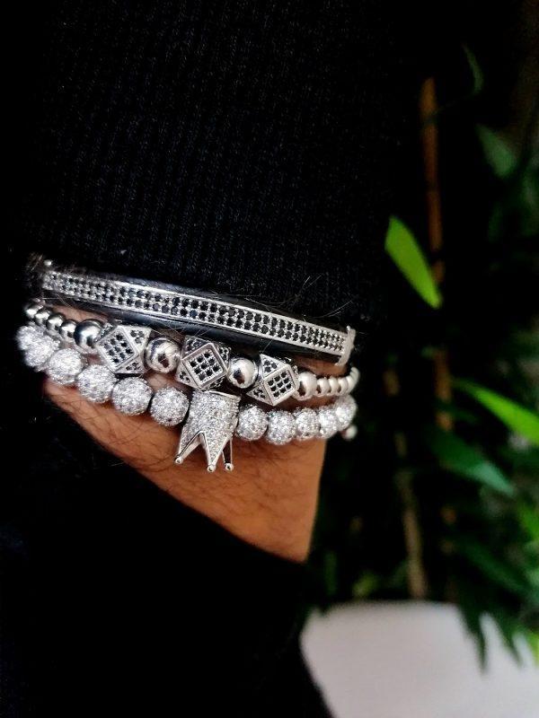 Womens Bracelet Sets, Bracelets For Women Cheap, Stainless Bracelet, Wrist Bangles, A Charm Bracelet, Best Beaded Bracelets, Mens Wrist Cuff, Silver Diamond Bangle with crown charm