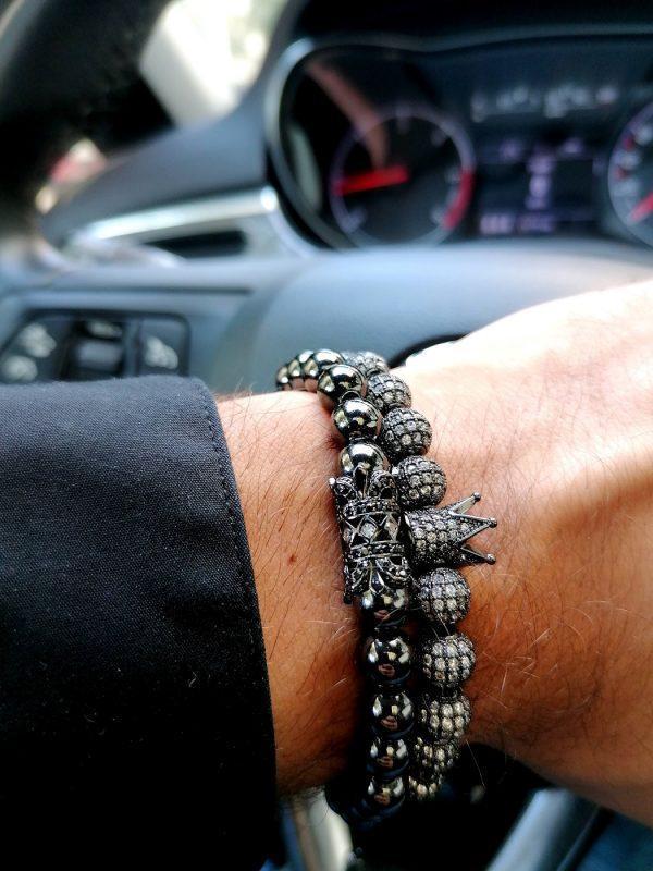 Mens Bracelets Silver And Black, Black Diamond Bracelet Mens, Black Diamond Bracelet Mens Price, Black Cuff Bracelet, Womens Diamond Tennis Bracelet