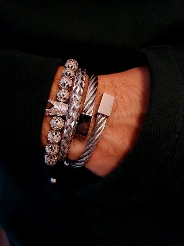 Mens Diamond Bracelet On Wrist, Mens Diamond Bracelet Sale, Mens Diamond Jewelry For Cheap, Mens Jewelry Online, Queen Bracelet, Queen Bracelet Buy Online, Queen Bracelet With Crown, Sterling Silver Chain Bracelet Mens