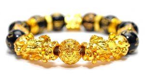 Bratara Obsidian cu talisman Pixiu auriu