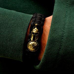 Bratara Sparta neagra cu talisman auriu