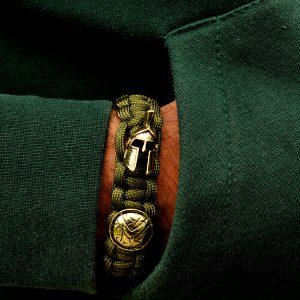 Bratara metalica Sparta si textil verde